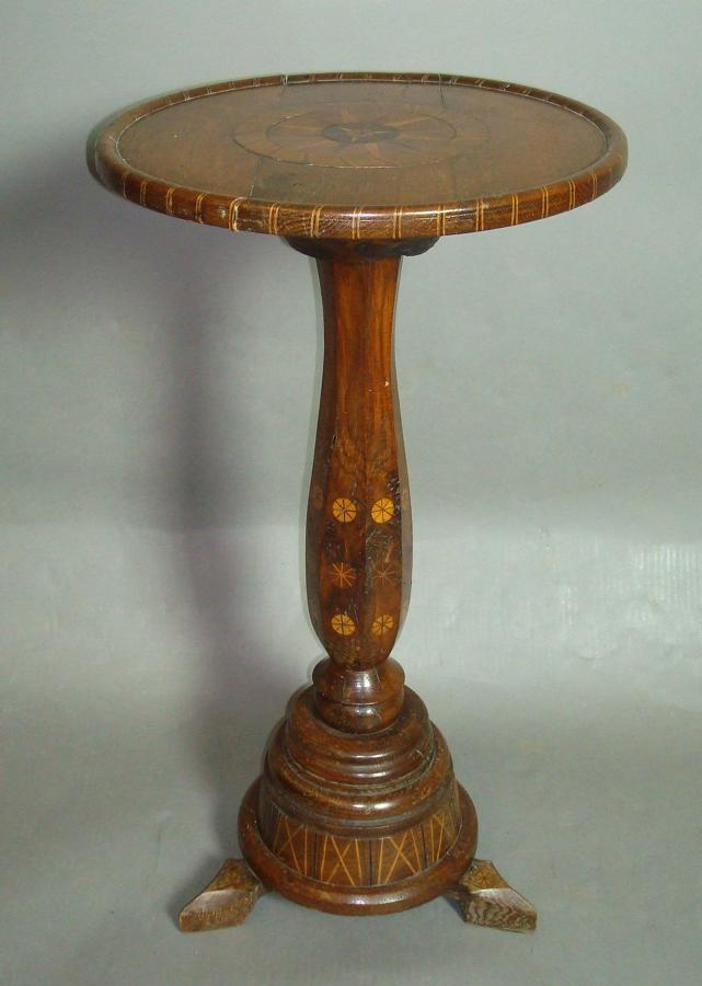 C19th querky oak inlaid table