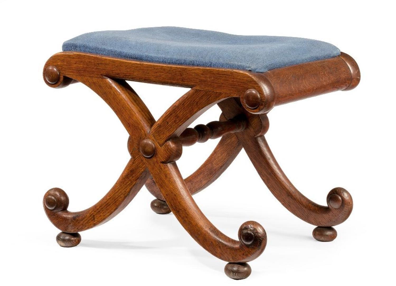 Regency oak x frame stool