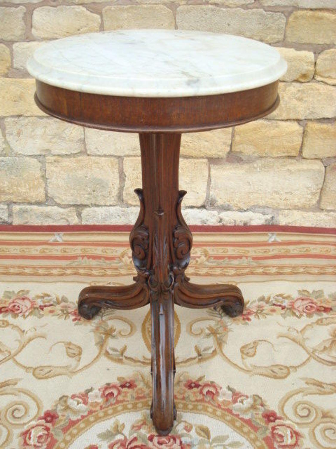Geo IV Gothic carved oak tripod occasional table