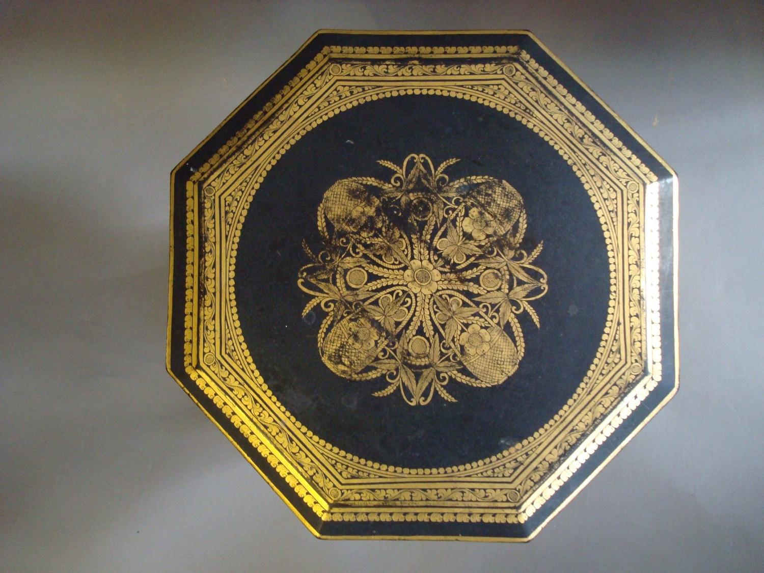 C20th small black and gilt Indian table