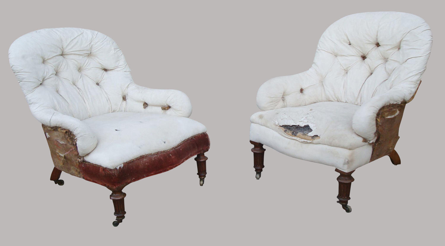 19th century near pair of Gillow upholstered armchairs