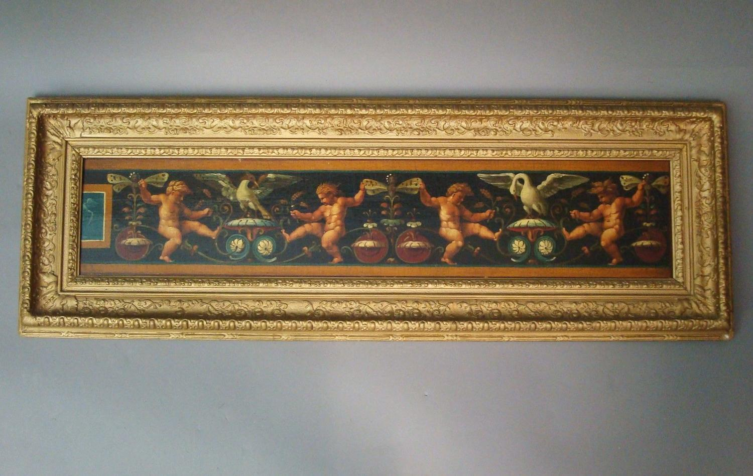 C19th Oil painting of classical frieze scene