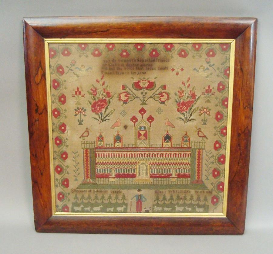 C19th large needlework of Solomans Temple