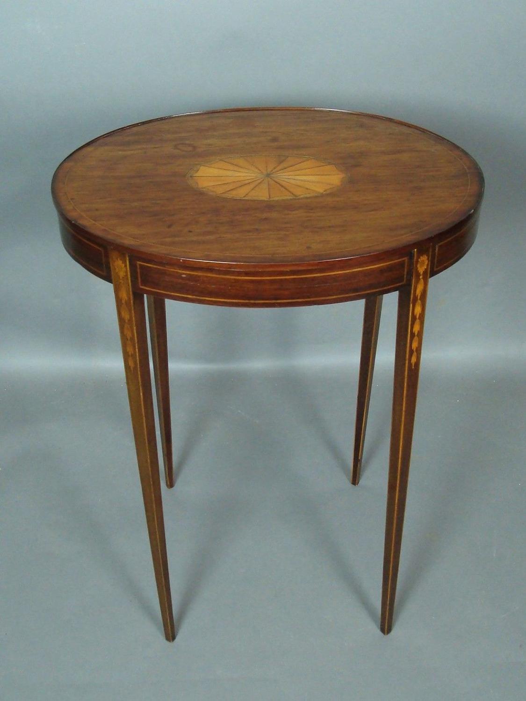 George III Sheraton inlaid mahogany oval occasional table