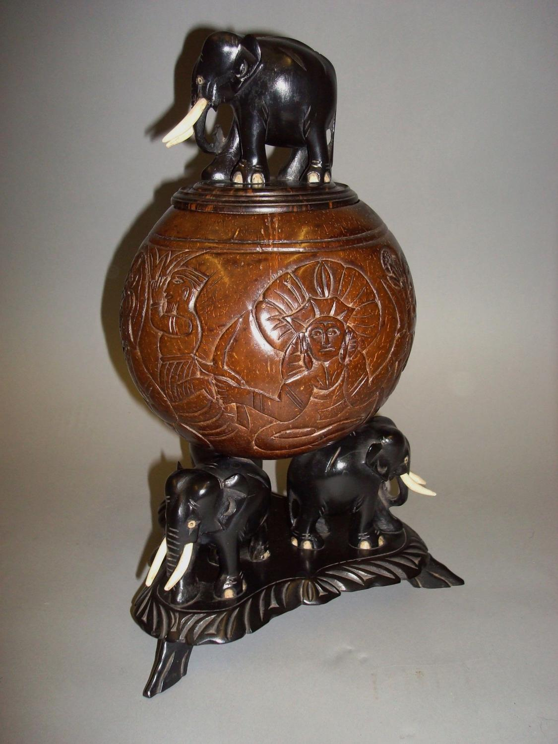 C19th Indian carved coconut centre piece