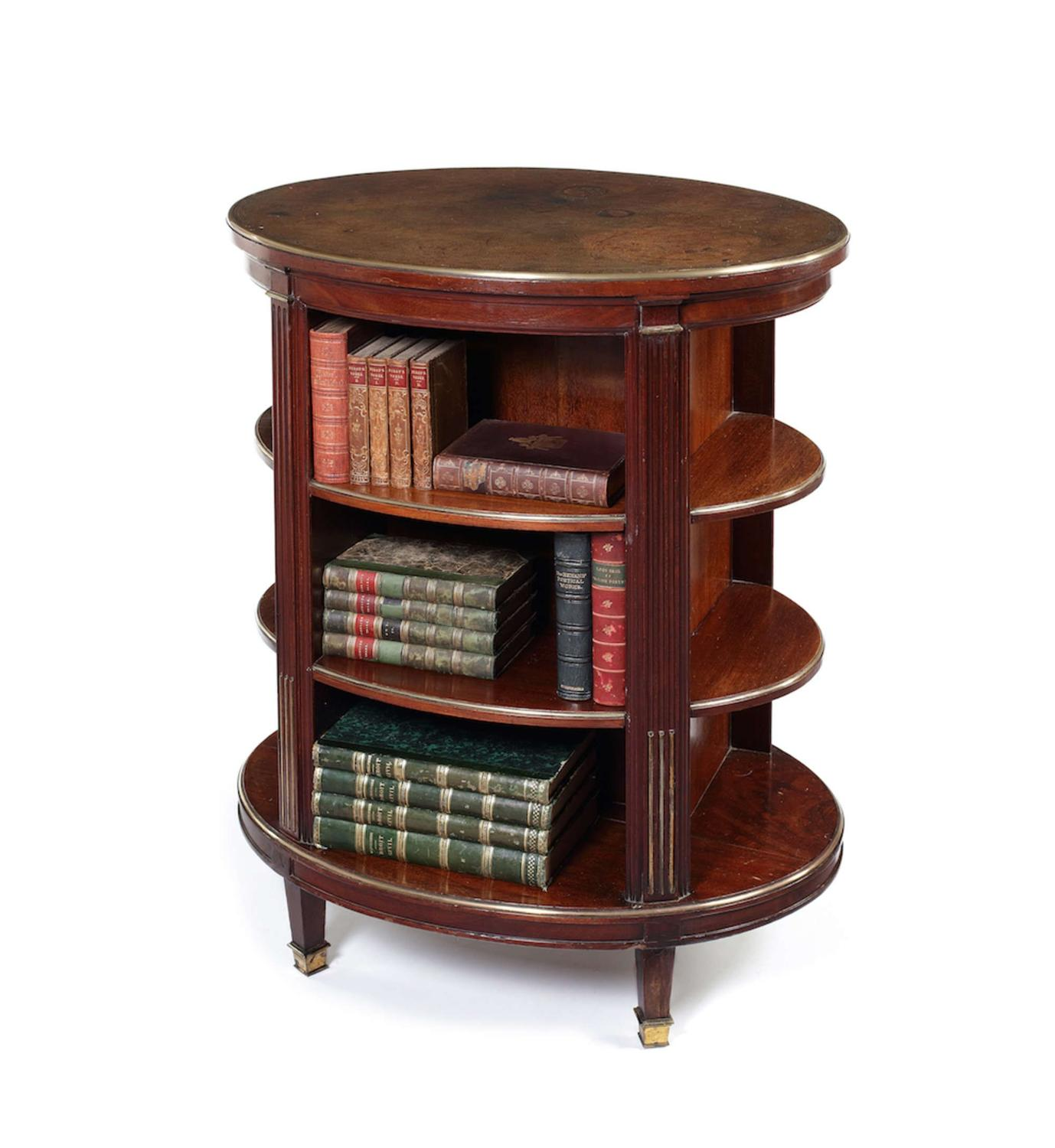 C19th mahogany freestanding oval bookcase