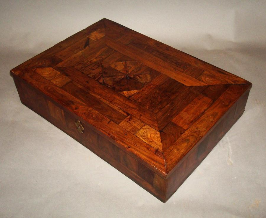 C18th kingwood and oyster panel writing box