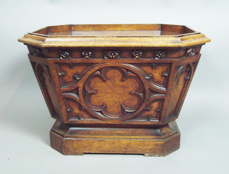 George IV gothic oak wine cooler