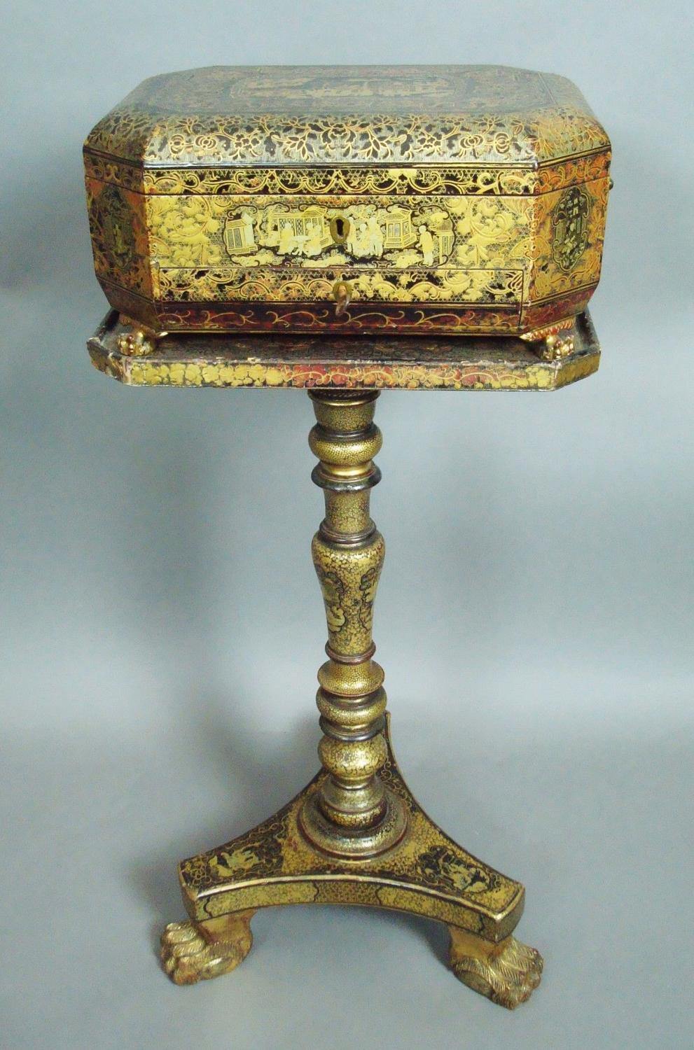 C19th Chinoiserie work box on stand