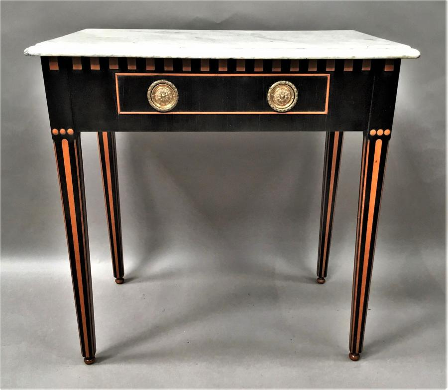 C19th Dutch ebony and satinwood side table