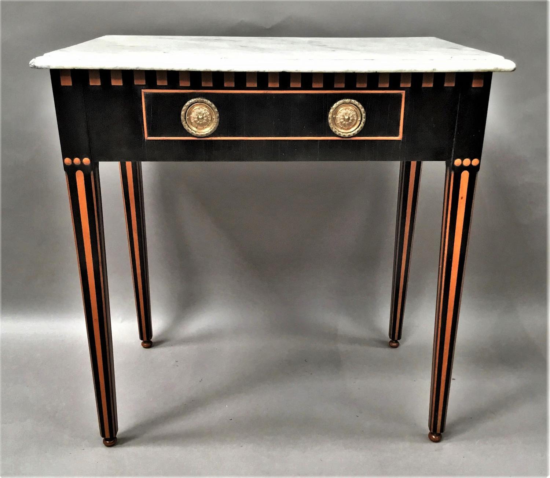 C19th Dutch ebony and satinwood side table