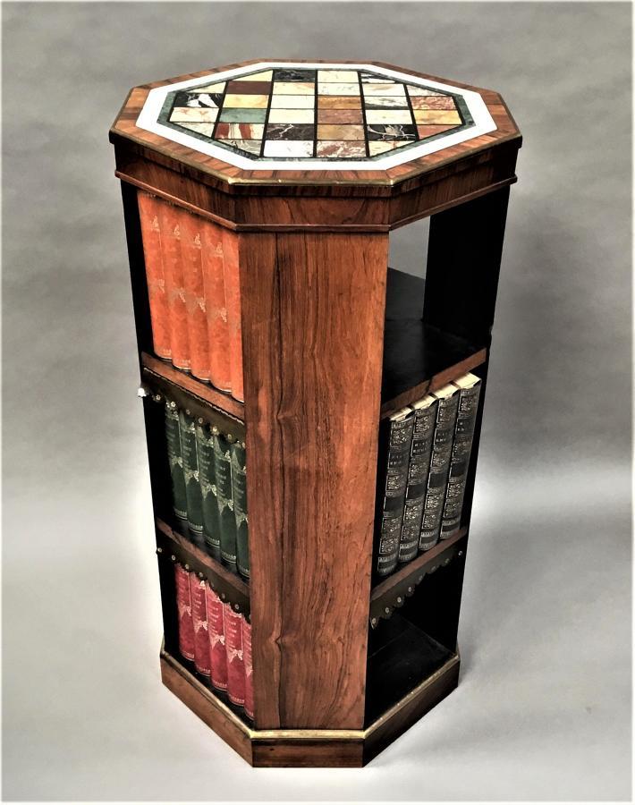 Regency rosewood specimen marble bookcase of freestanding form