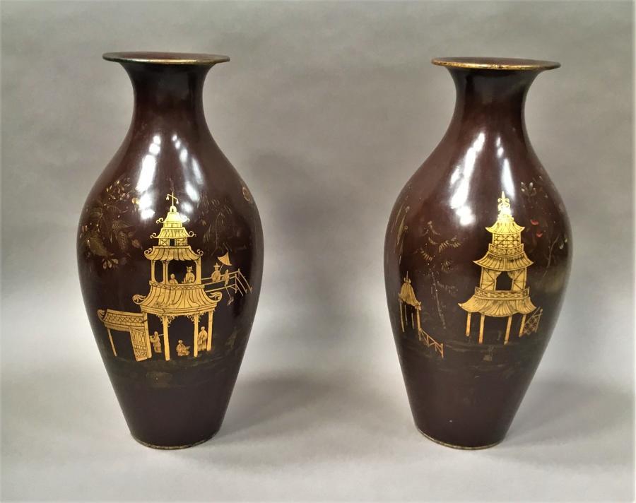 C19th pair of lacquered papier mache vases by Jennens & Bettridge