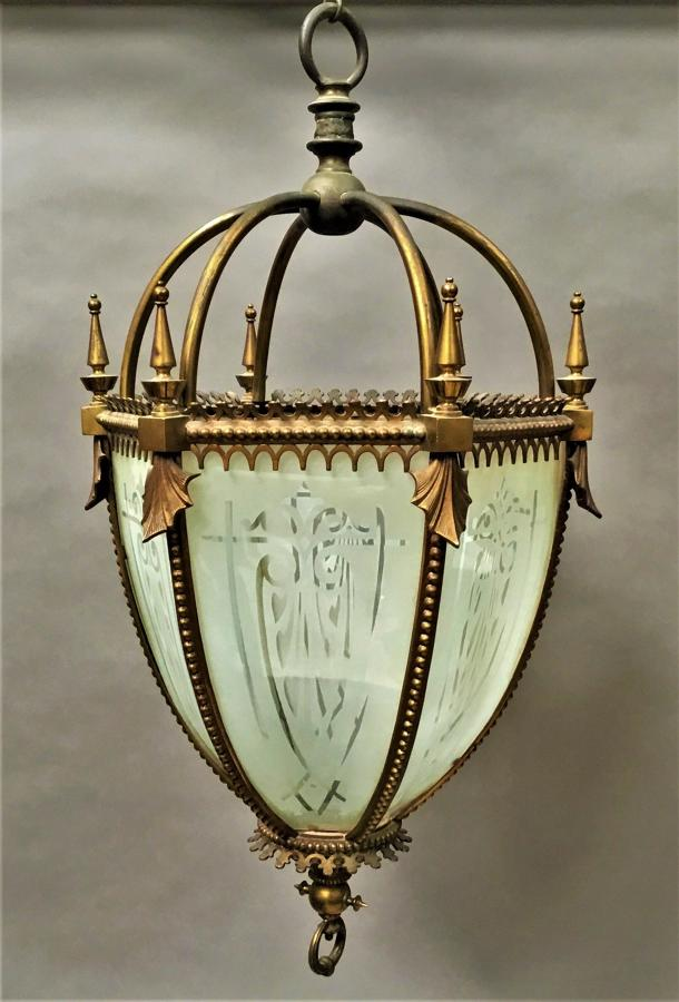 C19th gilt brass hexagonal lantern of pendant design