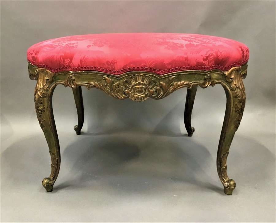 C19th parcel gilt salon stool