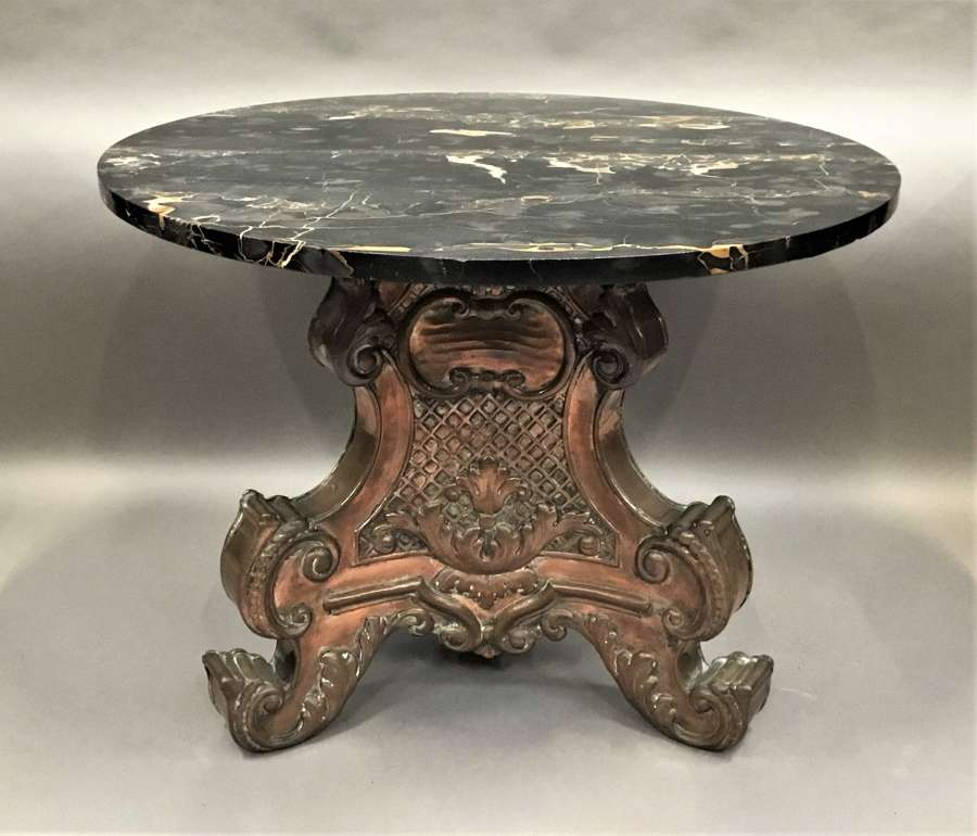 Italian copper and marble low centre table / coffee table