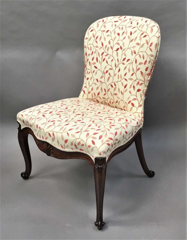 George III mahogany upholstered side chair