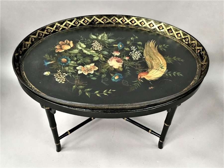 Regency papier mache tray on stand