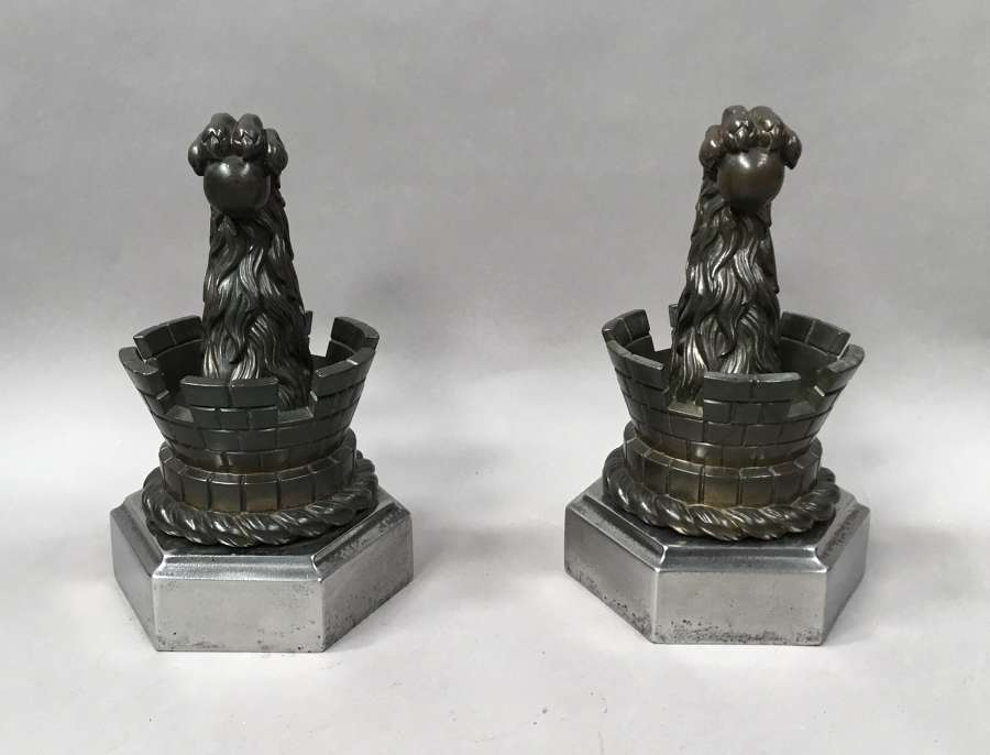C19th pair of bronze door stops / door porters or andirons