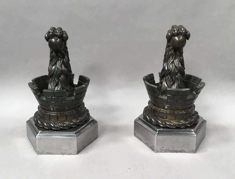 C19th pair of bronze door stops / door porters or andirons