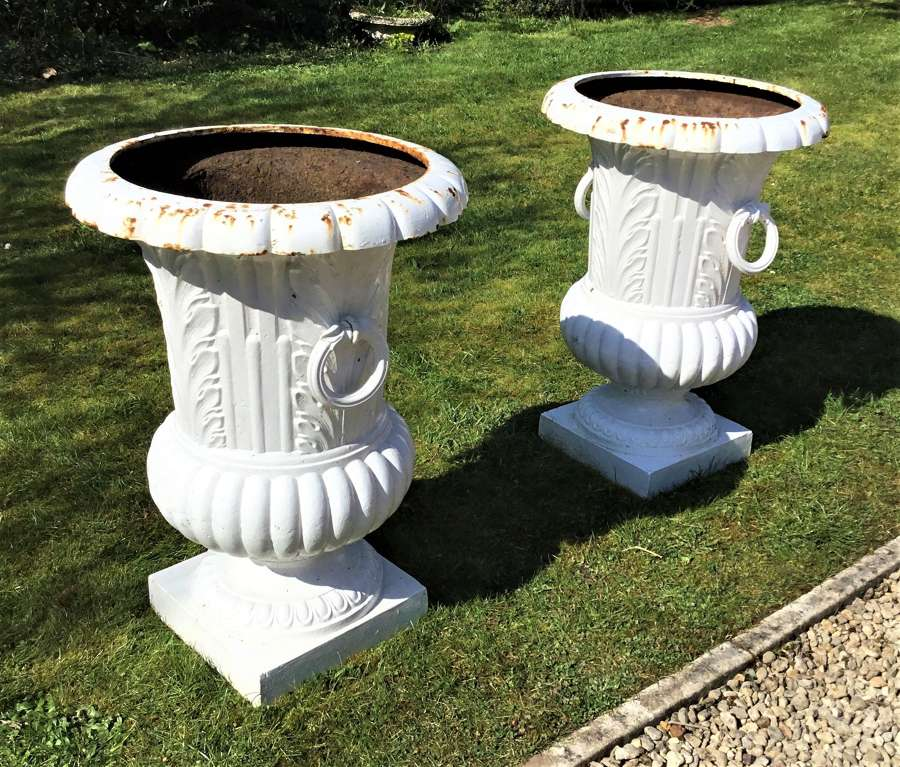 C19th large cast iron garden urns