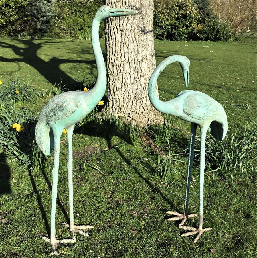 Early C20th large pair of Japanese bronze life size cranes
