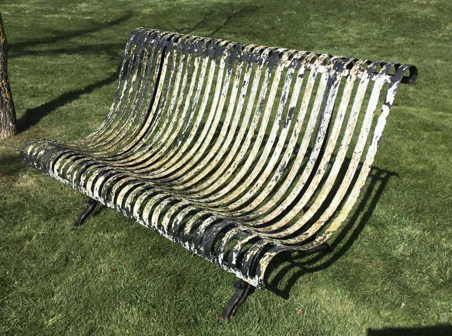 C19th unusual French iron garden seat / bench