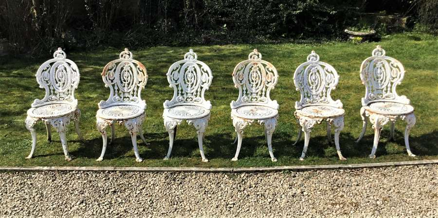 Set of 6 Victorian 'Coalbrookdale' cast iron garden chairs