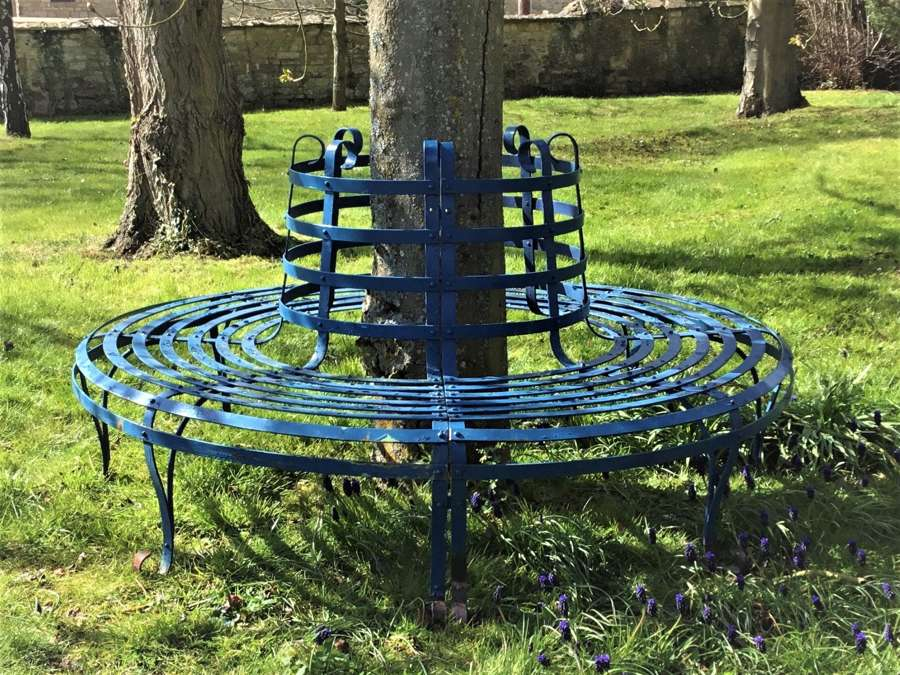Late C19th large wrought iron tree seat