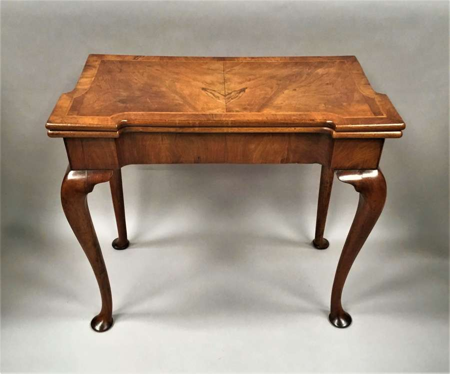 George I figured walnut card table