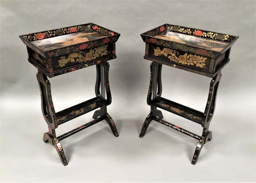 C19th pair of Chinese export lacquered occasional / work tables