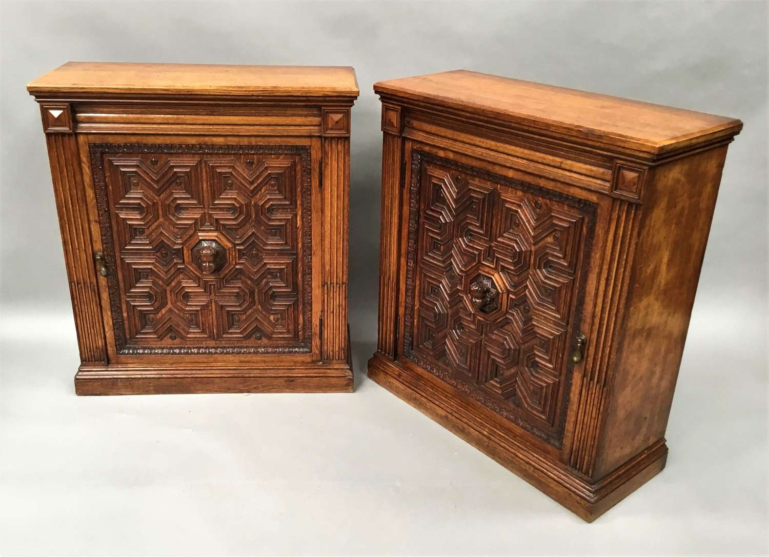Late C19th pair of oak side cabinets / bookcases