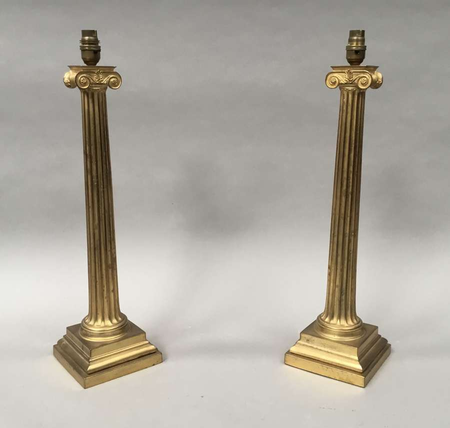 Regency pair of neoclassical Ionic column lamps