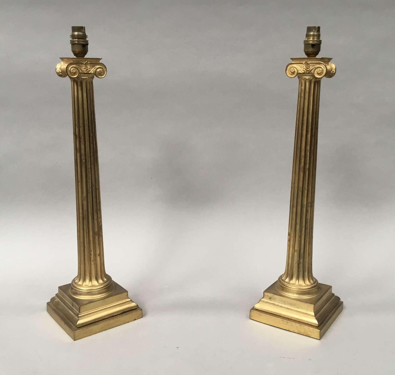 Regency pair of neoclassical Ionic column lamps
