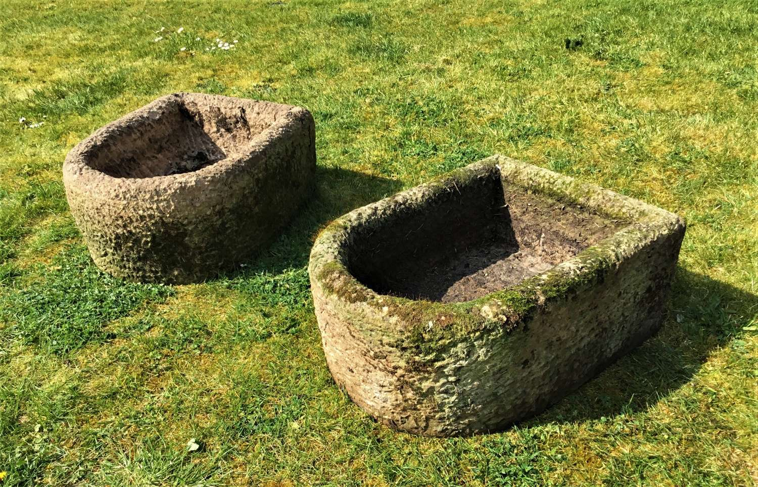 C19th pair of stone troughs