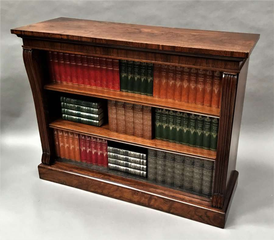 Regency rosewood open dwarf bookcase