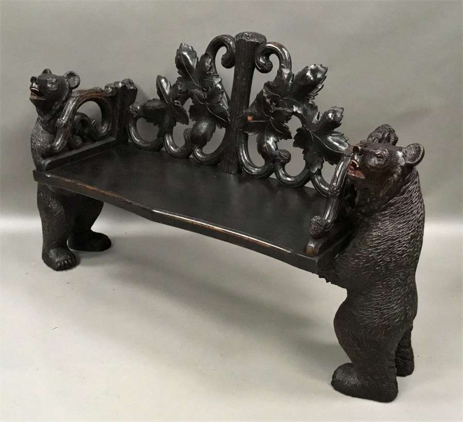 C19th Black Forest bear hall seat / bench
