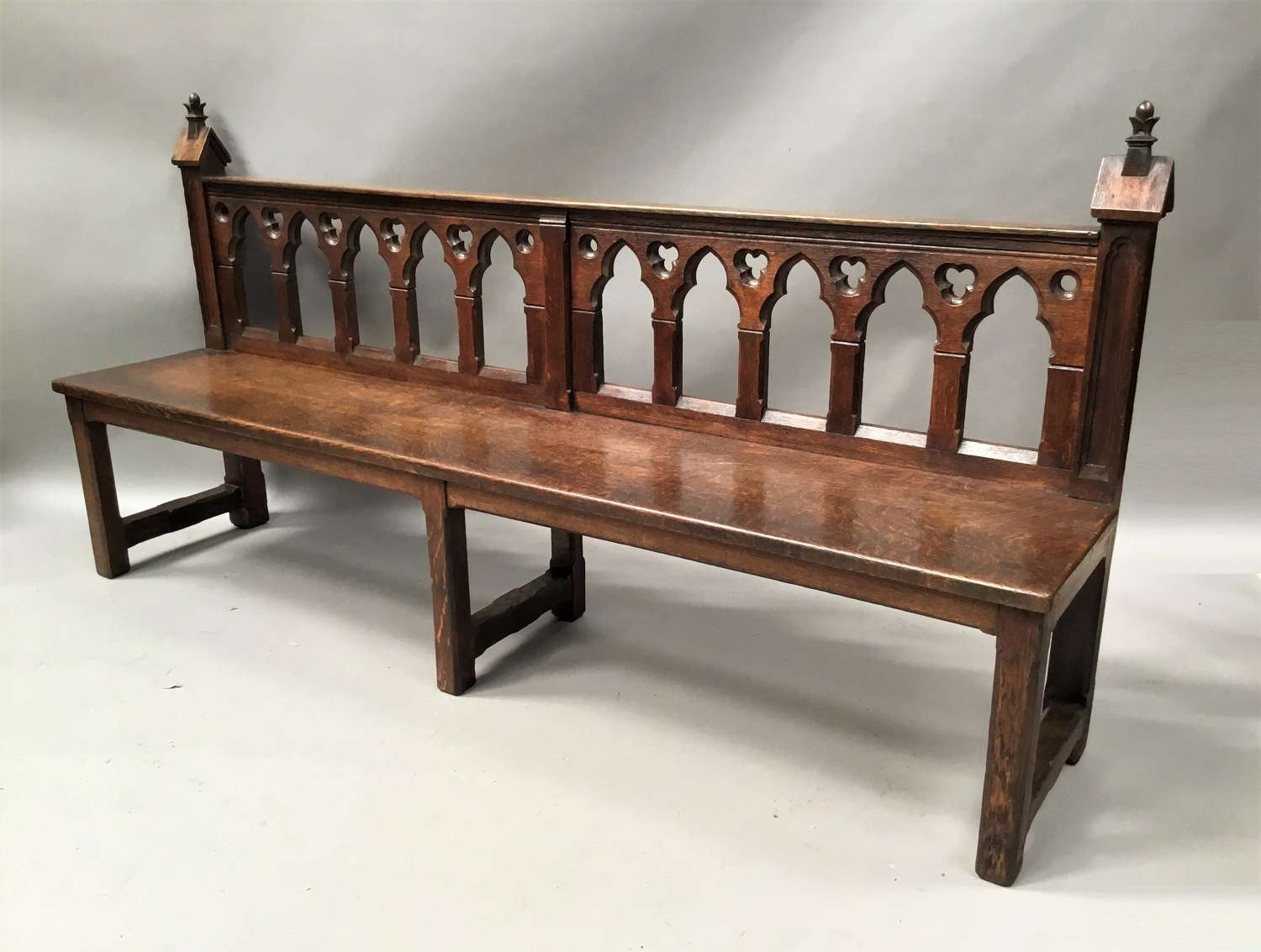 C19th Gothic oak hall bench / seat