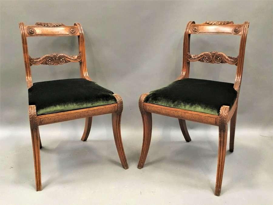 Regency pair of burr elm and elm side chairs
