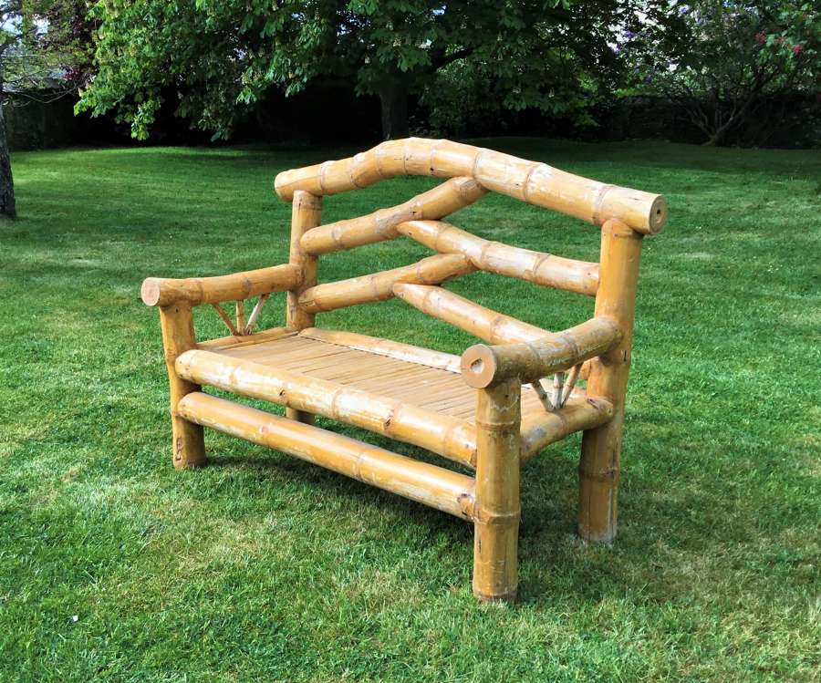C20th bamboo garden seat / conservatory seat