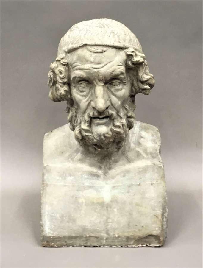 C19th plaster bust of Homer