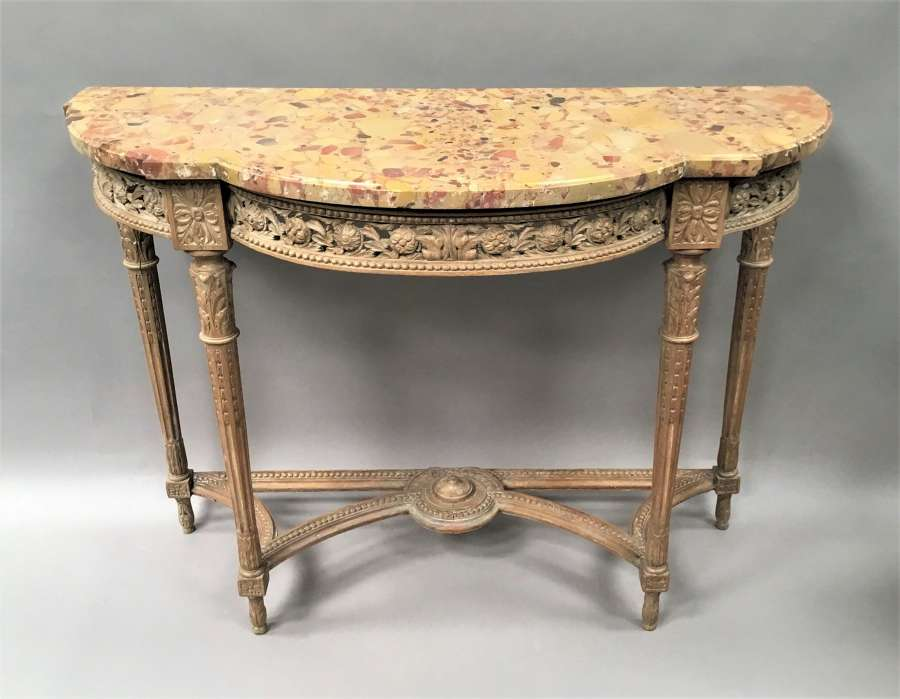 C18th Louis XVI walnut marble top console table