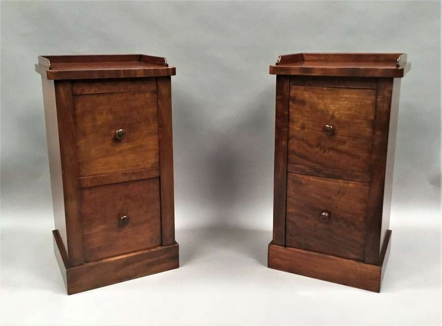 Regency pair of mahogany bedside cabinets by Holland and Sons