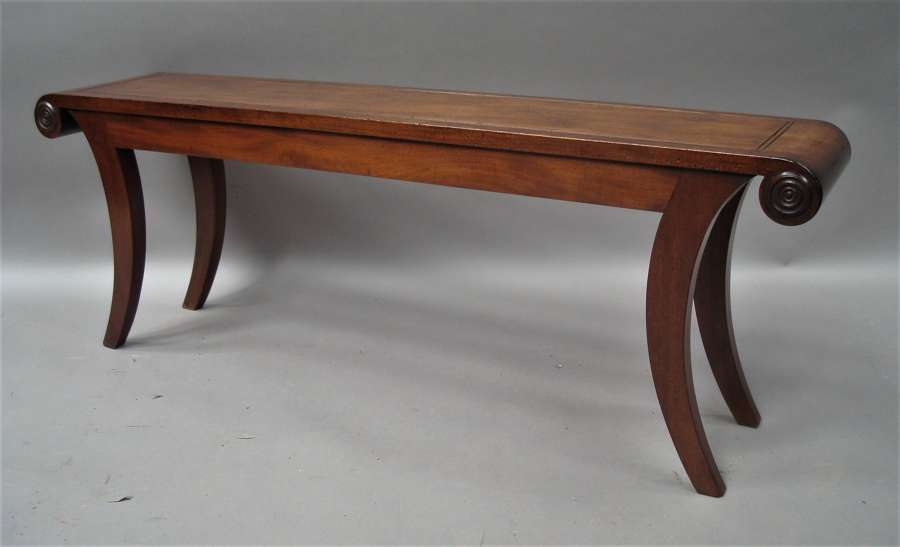 Regency mahogany hall bench / window seat