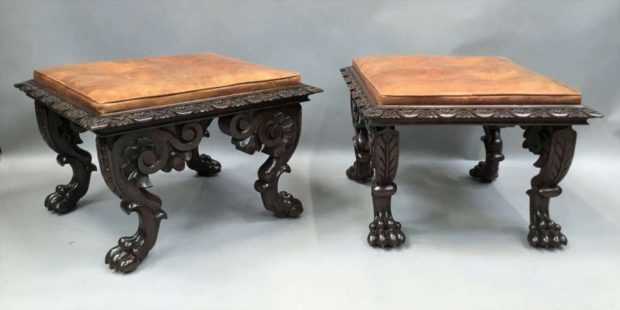 William IV large pair of carved mahogany stools