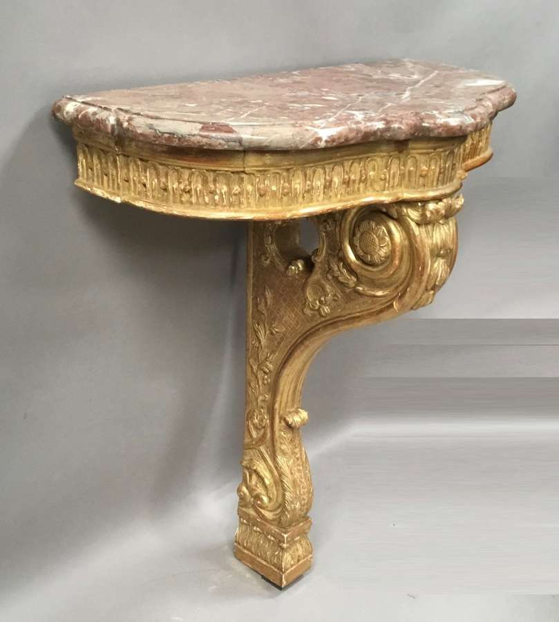 C19th Louis XV carved giltwood console table
