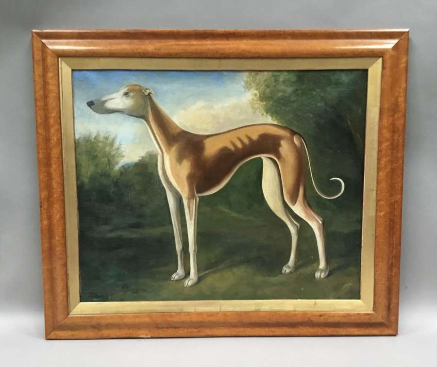 C19th primitive oil painting of a greyhound