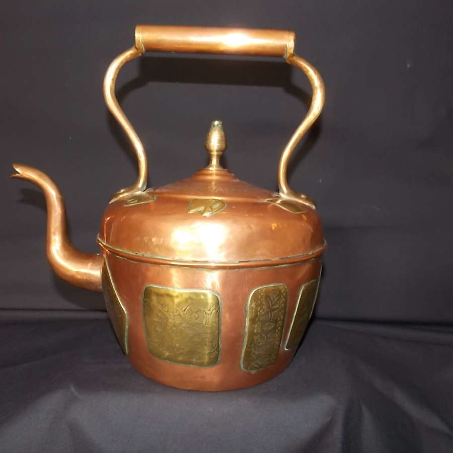 Late Victorian/early 20th century French copper and brass kettle