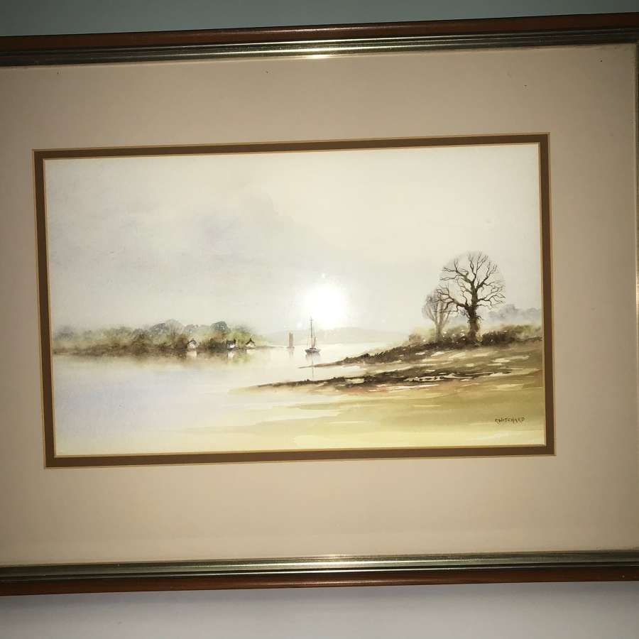 Watercolour of yachts on River estuary by R Witchard
