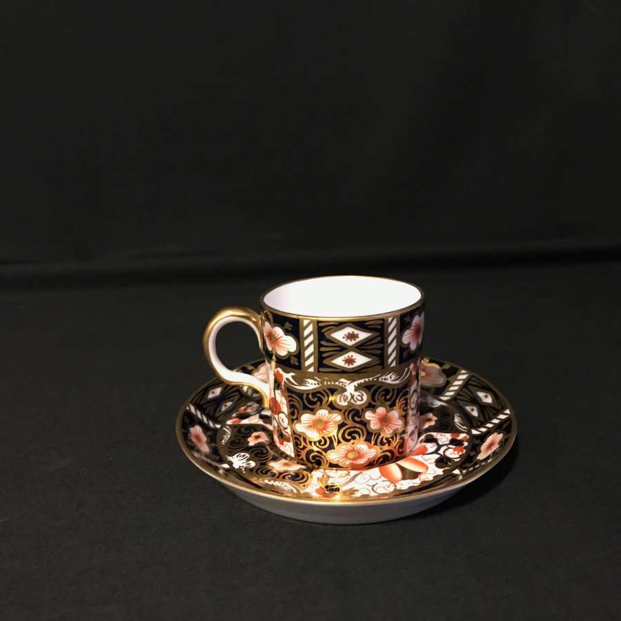 Royal crown derby coffee can and saucer Imari pattern